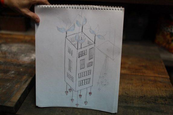 Uno de los bocetos que utilizó la artista Nuni Canals para diseñar su obra.