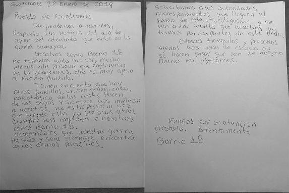 Esta carta está firmada por el Barrio 18.