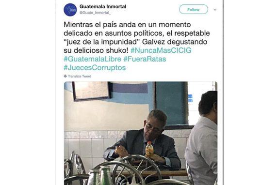 Publicación de la organización Guatemala Inmortal en contra del juez Miguel Ángel Gálvez.