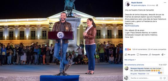 En muchas de las publicaciones en Facebook, Bukele aparecía acompañado de su esposa Gabriela Rodríguez de Bukele.