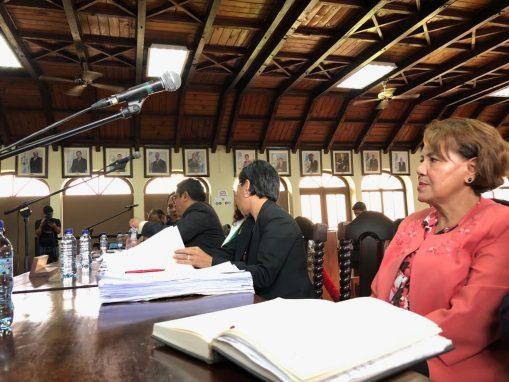 Mónica Mazariegos, del MP, durante la vista pública en la CC donde se conoció el acuerdo gubernativo que puso fin a la CICIG.