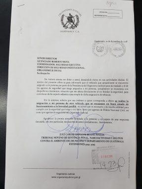 Esta es la carta que Carlos Ruano envió a la Dirección de Seguridad y la CSJ.