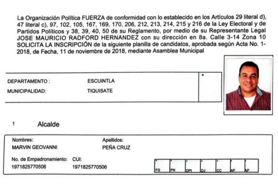 Ficha de solicitud de inscripción del candidato a corporación municipal por Tiquisate.
