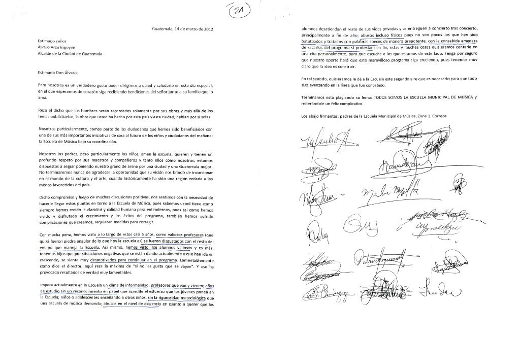Papás y mamás denuncian malos tratos en carta dirigida al alcalde Alvaro Arzú.