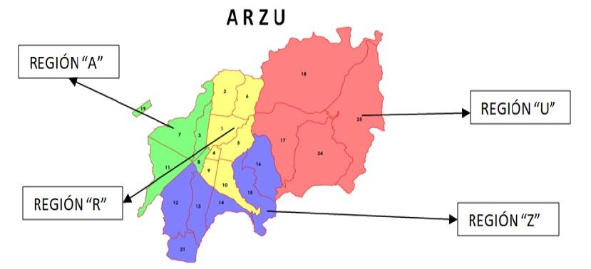 Mapa de acción dividido con las letras del apellido de Alvaro Arzú.