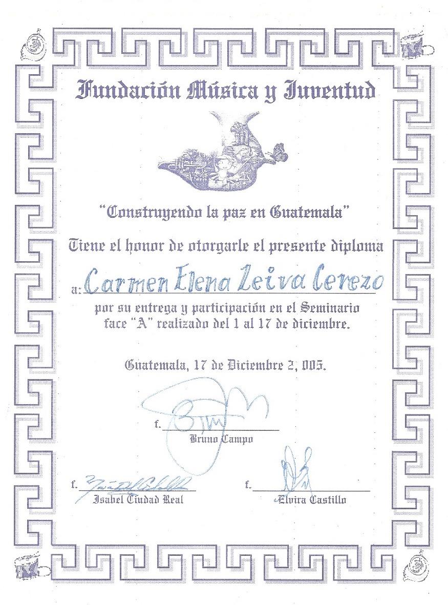 Diploma de La Verbena, Carmen Leiva.