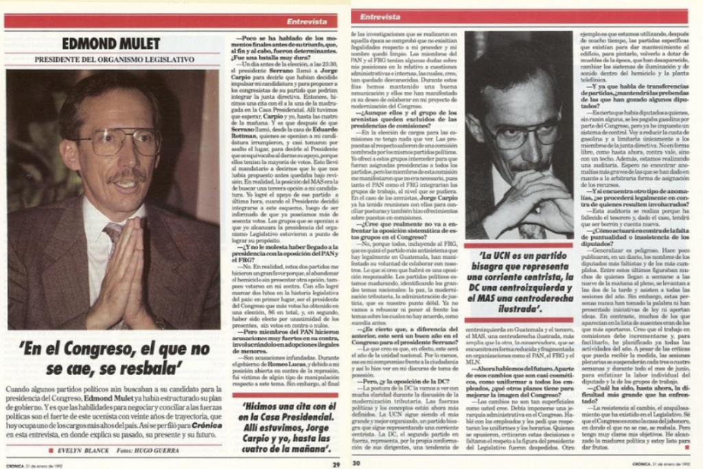Mulet es entrevistado para la revista Crónica, edición de enero de 1992.
