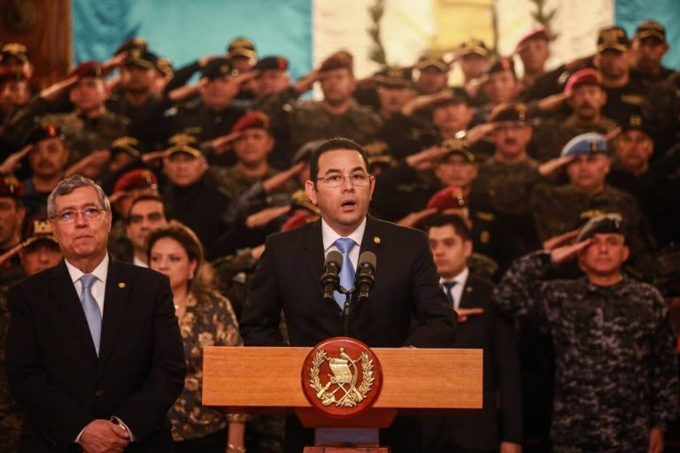 Jimmy Morales, with his vice president, three ministers, and dozens of high-ranking military and police officers.