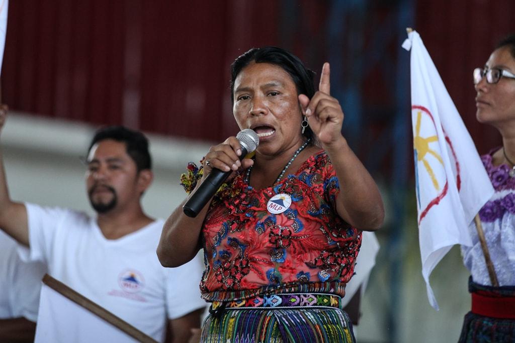 Thelma Cabrera en su mitin en El Palmar, Quetzaltenango. Foto: Carlos Sebastián