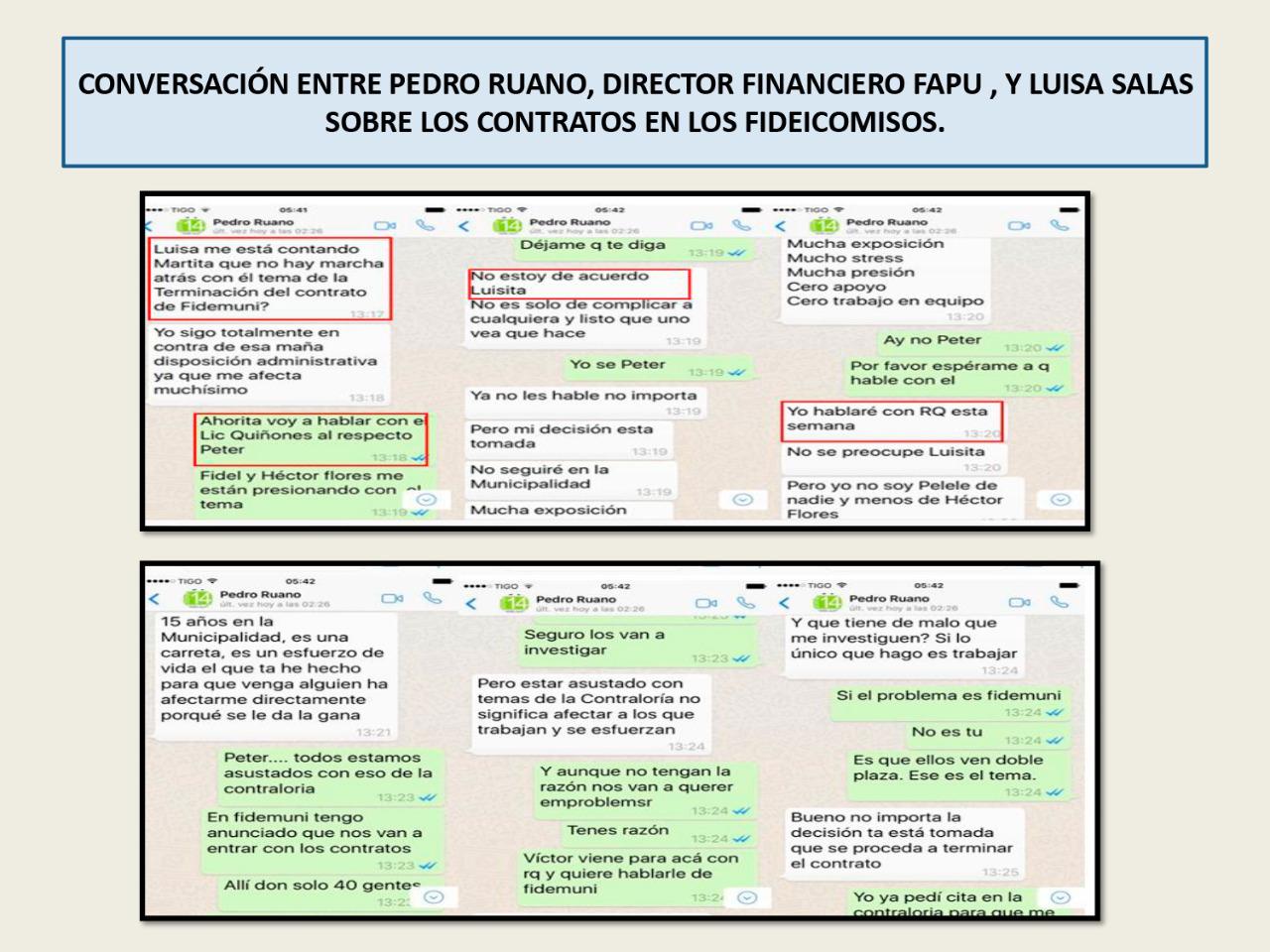 Conversaciones sobre los contratos de los fideicomisos.