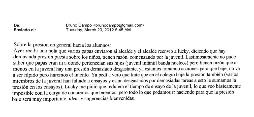 Bruno Campo confirma haber recibido carta de madres y padres sobre malos tratos de la Dirección Cultural de la Municipalidad.