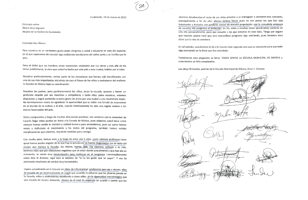 Parents report mistreatment in a letter addressed to Mayor Alvaro Arzú.