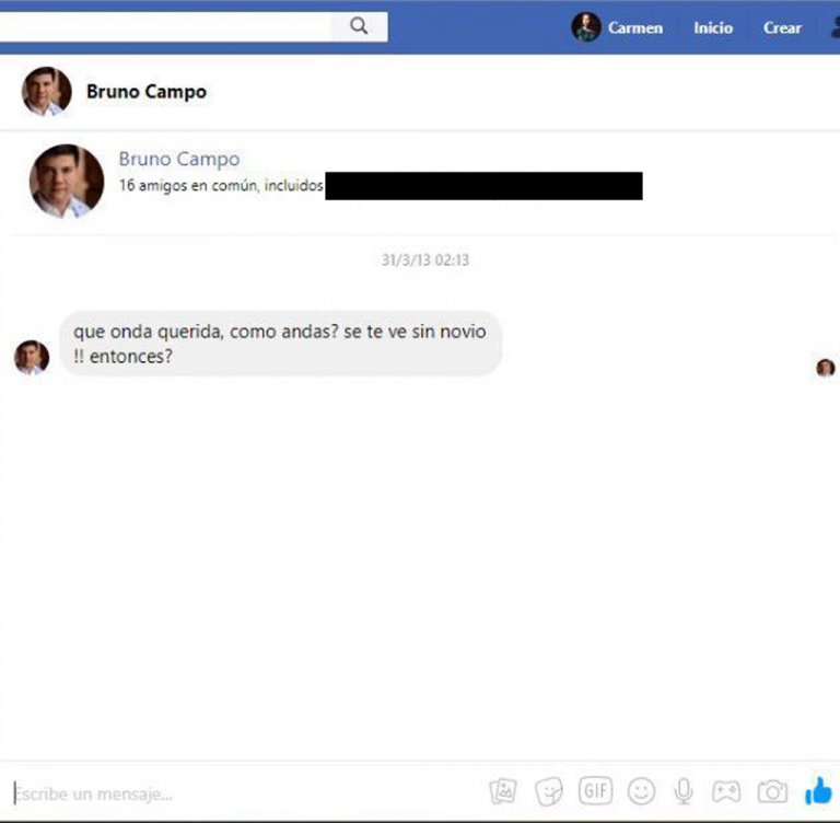 Facebook message from Bruno Campo to Carmen Leiva, 2013.