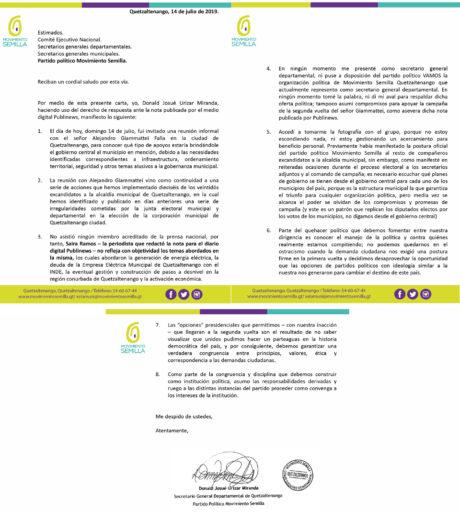 Carta Donald Urízar.