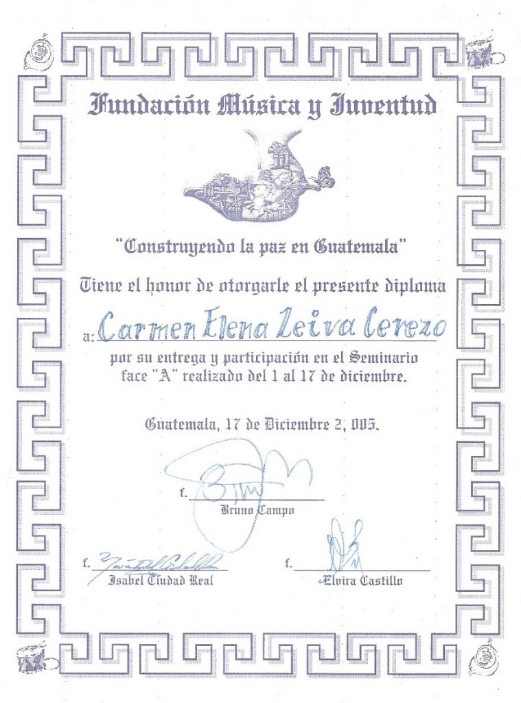 Carmen Leiva's diploma from the project in La Verbena.