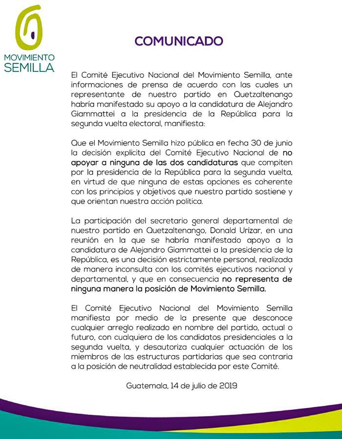Comunicado Semilla.
