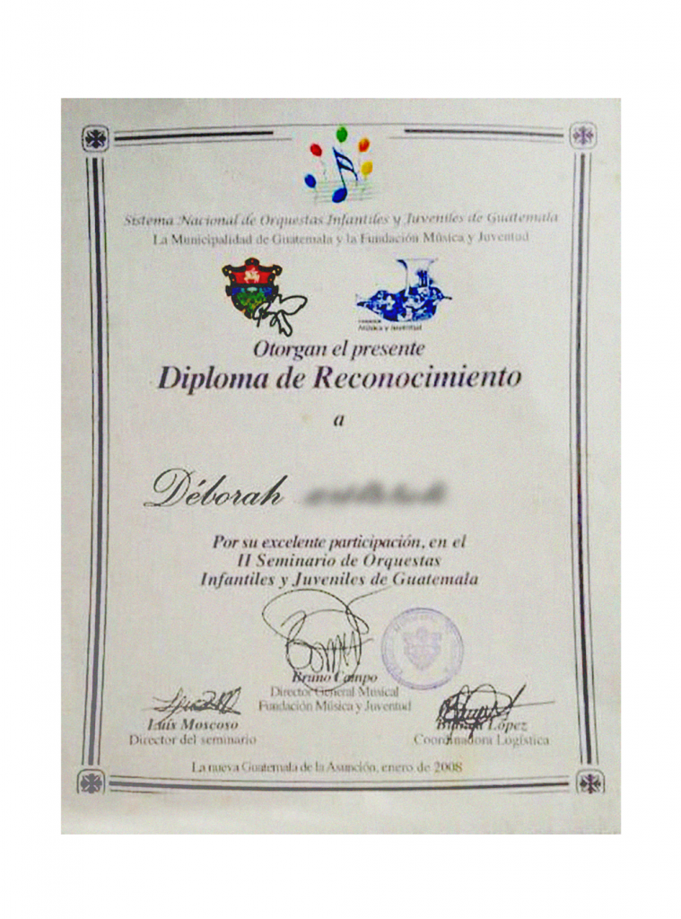 One of Déborah's diplomas from the School of Music.