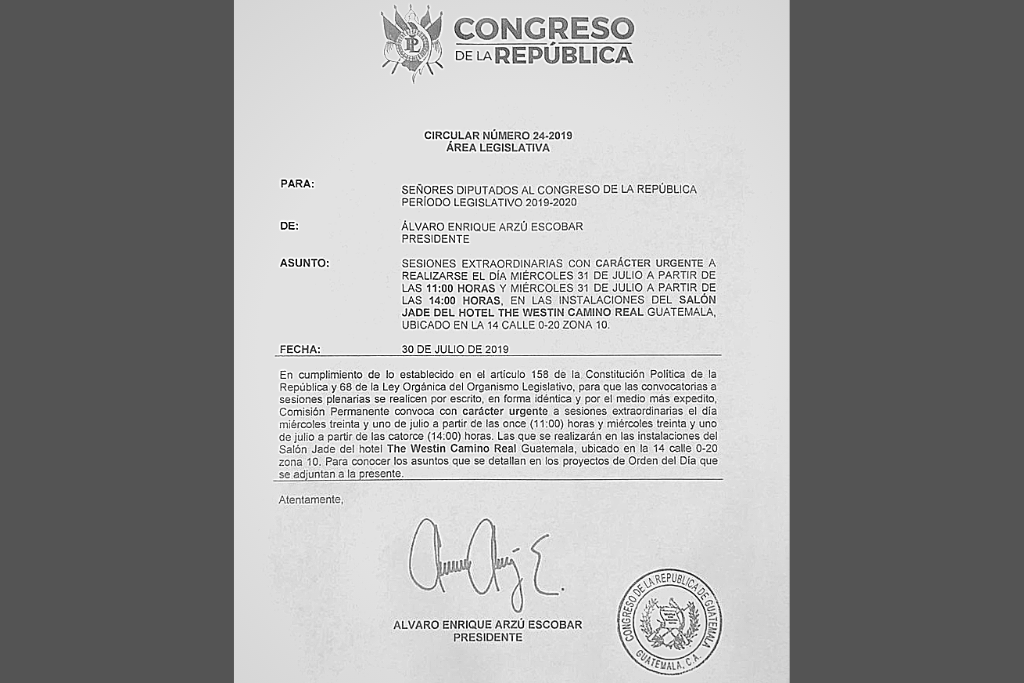 Circular del presidente del Congreso para convocar a dos sesiones extraordinarias este miércoles 31.