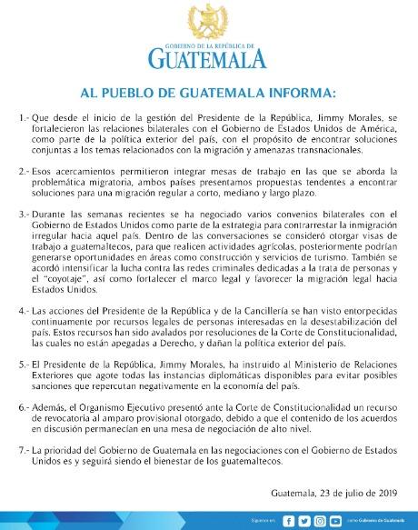 Comunicado del Gobierno de Guatemala.