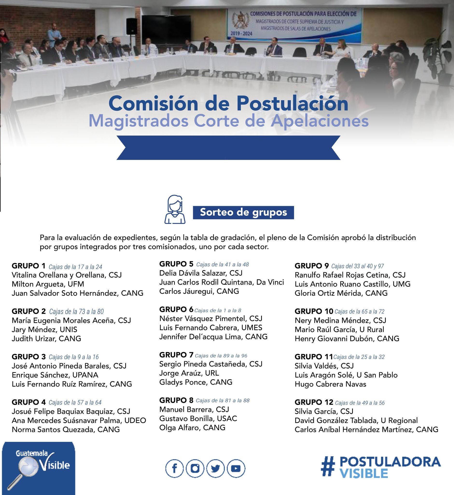 Guatemala Visible compartió la forma en la que se dividieron los grupos para calificar expedientes.