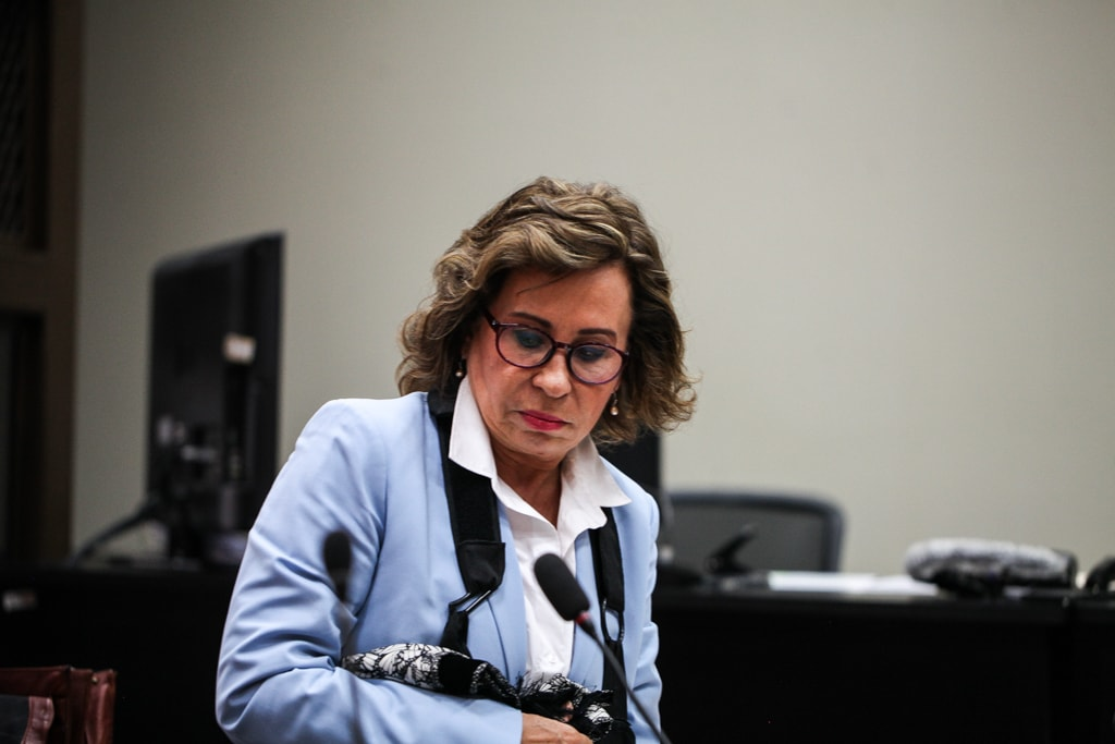 Sandra Torres en uno de los momentos de la audiencia sobre se comenzaron a reproducir audios como evidencias.