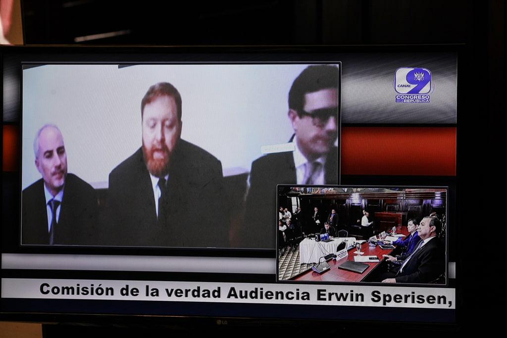 El exjefe de la PNC, Erwin Sperisen, durante la audiencia con la comisión anti-CICIG. Foto: Carlos Sebastián