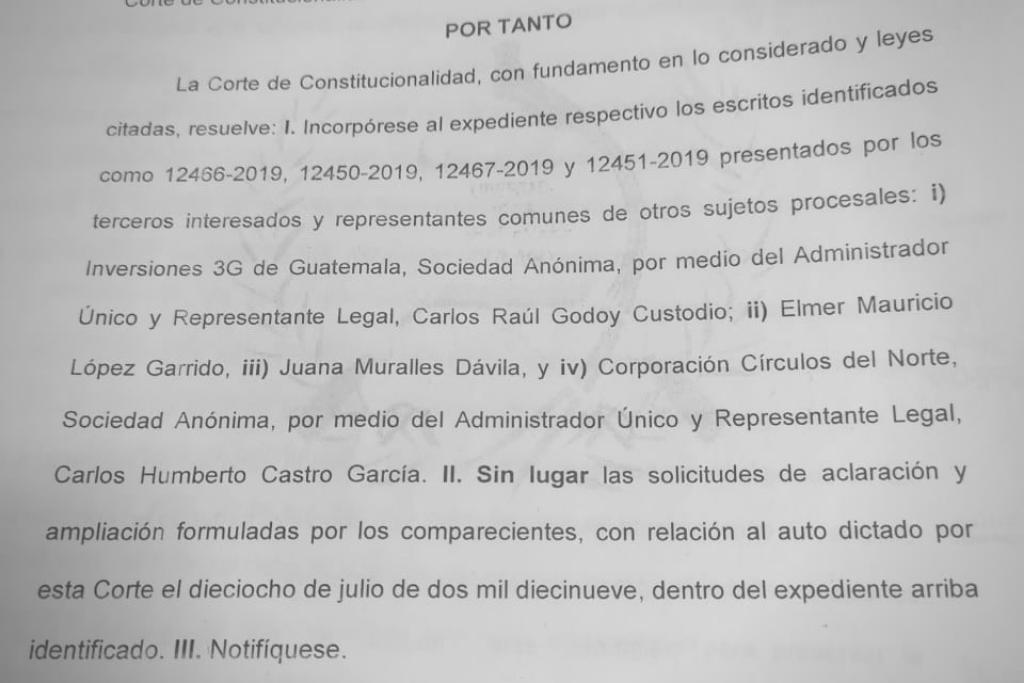 La CC resolvió sin lugar las solicitudes de aclaración presentadas por la mina.