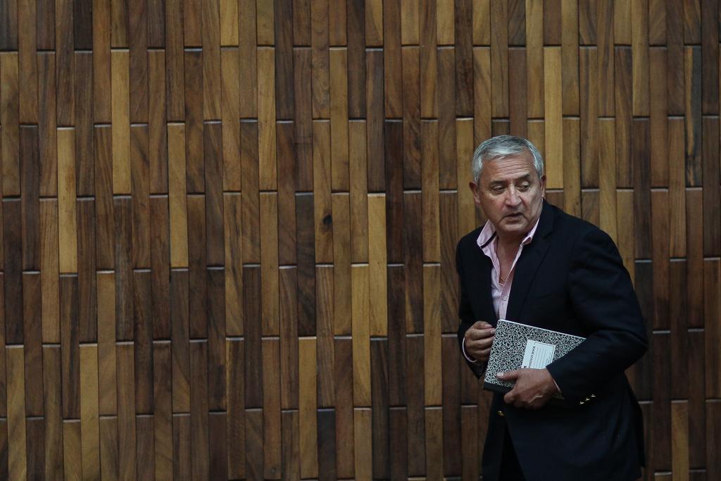Pérez Molina durante una audiencia en el caso Cooptación del Estado. Foto: Carlos Sebastián