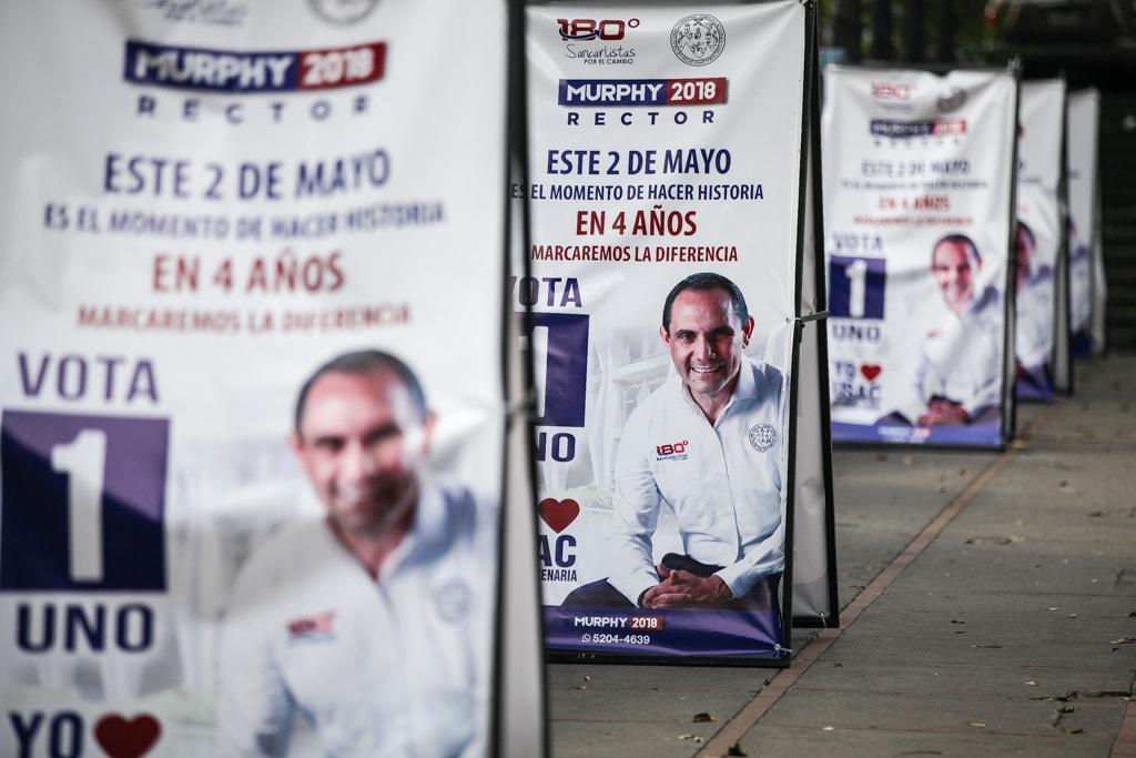 Propaganda de la campaña del rector Murphy Paiz en la USAC. Foto: Carlos Sebastián