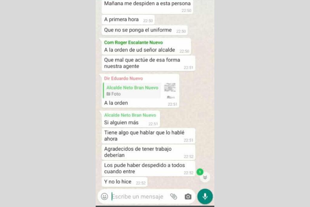 Este es el chat que se conoció sobre cómo Neto Bran despidió a Marcos.