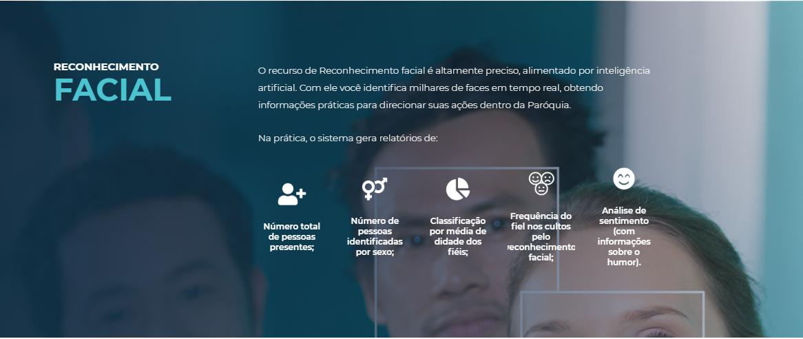 El sitio de Igreja Mobile muestra las utilidades del servicio de reconocimiento facial.