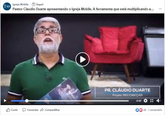 Pantallazo del video promocional de Igreja Mobile en facebook.