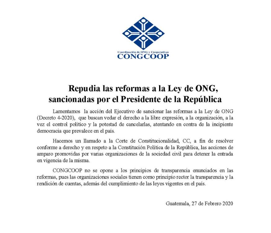La Coordinadora de ONG y Cooperativas (CONGCOOP) se pronunció por la sanción a la ley de oenegés.