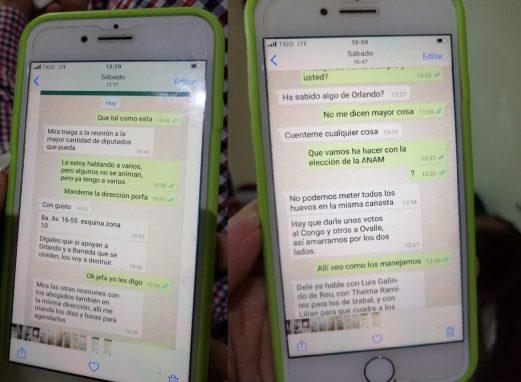 Imagen de los chats en el celular del diputado Mario Taracena.