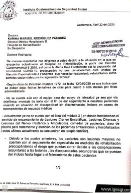 Este fue el documento que médicos especialistas enviaron para manifestar su preocupación por la implementación de un área de pacientes Covid-19.